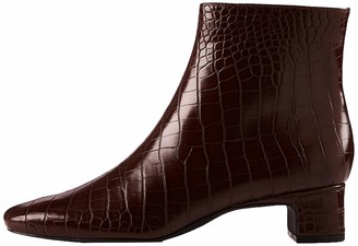 Find. Block Heel Square Toe Ankle Boots Braun Brown Croco) 6 UK