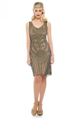 Gatsbylady London Francesca Flapper Dress in Nude Black