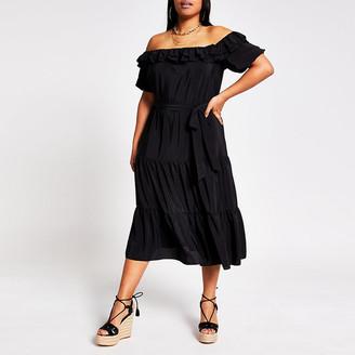 River Island Plus black short sleeve bardot midi dress