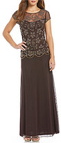 Pisarro Nights Beaded Mock Two-Piece Cap Sleeve Gown