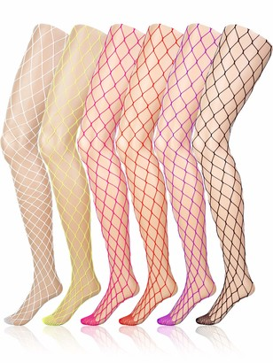 Boao 6 Pairs Fishnet Stockings Women's High Waist Lace Tights for Girls Ladies (Multicolored B)