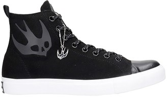 McQ Orbyt Mid Sneakers In Black Suede And Leather
