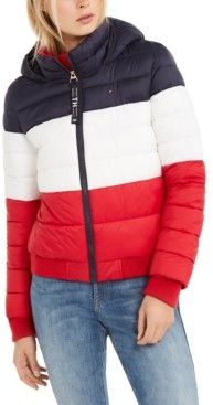 Tommy Hilfiger Tri-Color Hooded Cropped Jacket
