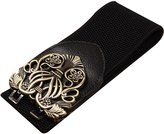 Sitong women's retro carved buckle wide elastic waistband