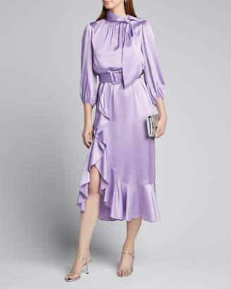 Cinq à Sept Bella Belted Silk Tie-Neck Ruffle Dress