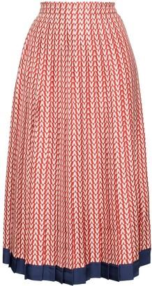 Valentino V-print pleated silk midi skirt