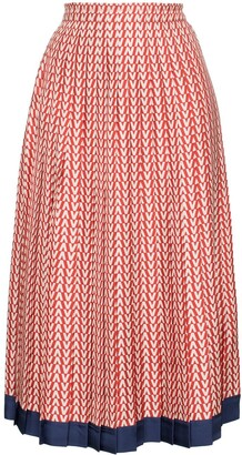 Valentino Garavani V print pleated silk midi skirt