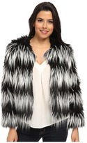 Vince Camuto Collarless Striped Faux Fur Jacket