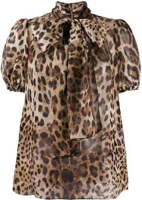 Dolce & Gabbana Pussy Bow Leopard-Print Organza Blouse