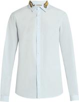 Gucci Tiger-embroidered button-cuff cotton shirt
