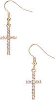 Carole Crystal & Goldtone Thin Cross Drop Earrings
