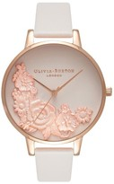 Olivia Burton Women's Begin To Blush Leather Strap Watch, 38Mm
