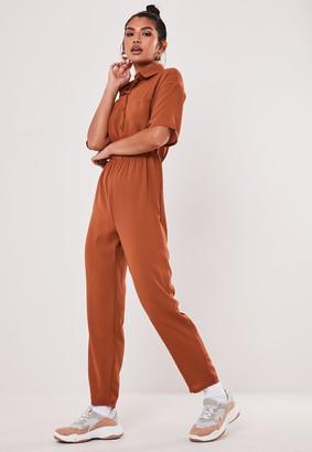 Missguided Terracotta Short Sleeve Utility Jumpsuit