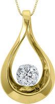 Sirena 1/10 CT. Diamond 10K Yellow Gold Teardrop Pendant Necklace