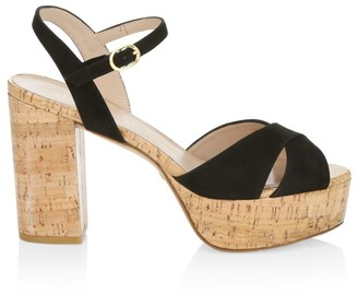 Stuart Weitzman Ivona Suede & Cork Platform Sandals