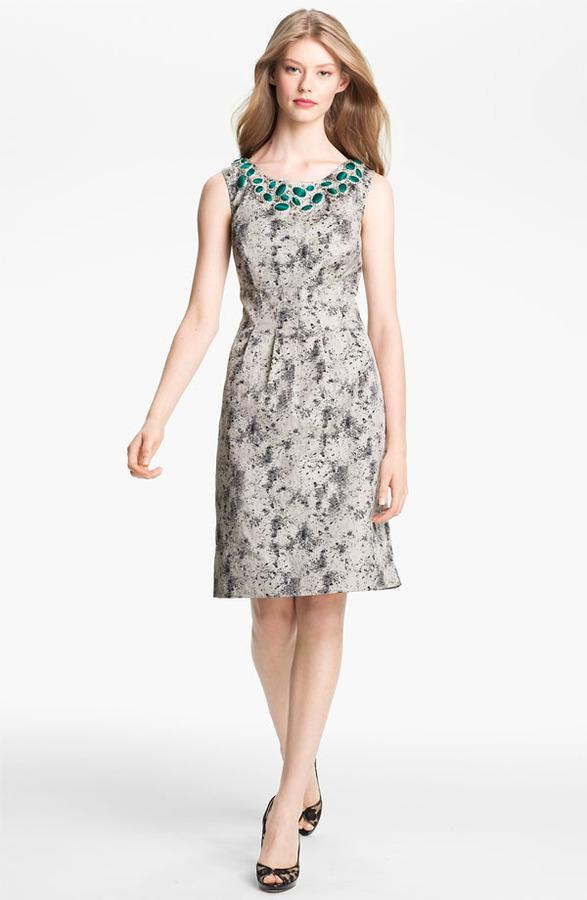 Lela Rose Embellished Neck Sheath Dress