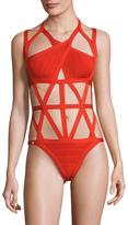Herve Leger Criss-Cross One Piece Swimsuit
