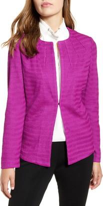 Ming Wang Textured Collarless Jacket