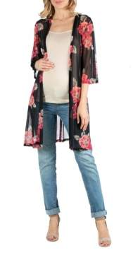 24seven Comfort Apparel Loose Fit Long Floral Maternity Kimono Cardigan