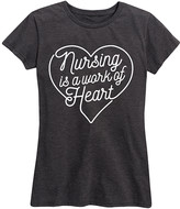 Instant Message Women's Women's Tee Shirts HEATHER - Heather Charcoal 'Nursing Is a Work of Heart' Relaxed-Fit Tee - Women