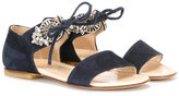 Ermanno Scervino lace-up sandals - kids - Goat Skin/Leather/Suede/glass - 24