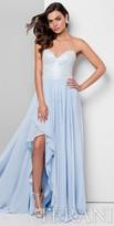 Terani Couture Beaded Chiffon Ruffled Slit Prom Dress