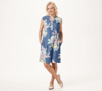Denim & Co. Stretch Denim Floral Print A-Line Dress