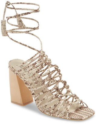 Snake Embossed Ankle Wrap Cage Sandal