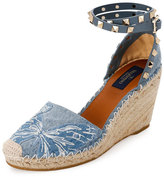 Valentino Rockstud Double Butterfly Espadrille Wedge Pump, Denim