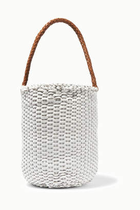 Dragon Optical Diffusion - B Small Woven Leather Bucket Bag - White