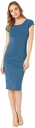 Hard Tail Sexy Ruched Cap Sleeve Dress (River) Women's Dress