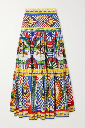 Dolce & Gabbana - Tiered Printed Cotton-poplin Maxi Skirt - 42