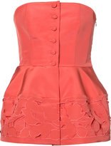 Carolina Herrera leaf embroidered faille bodice - women - Silk - 2