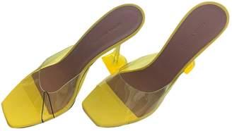 Amina Muaddi Yellow Plastic Mules & Clogs