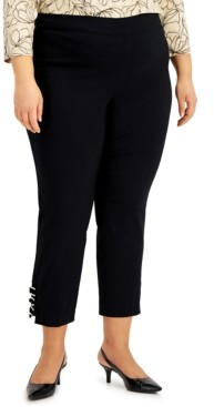 JM Collection Plus Size Ring-Detail Pull-On Pants, Created for Macy's