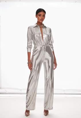 Missguided Silver Metallic Long Sleeve Straight Leg Jumpsuit