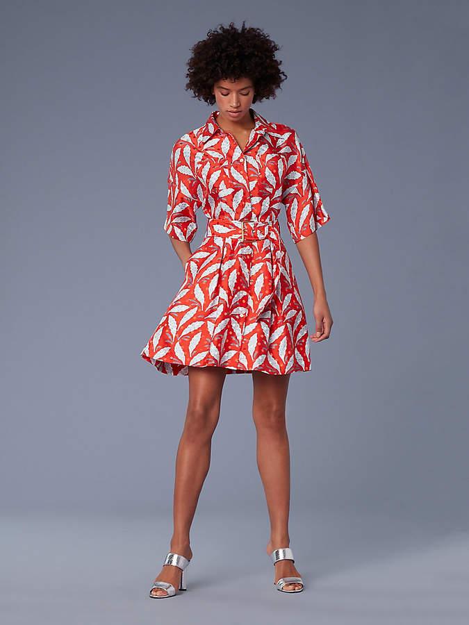 Diane von Furstenberg Short-Sleeve Button-Up Belted Shirt Dress