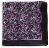 Black Brown 1826 Floral Silk Pocket Square