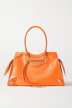 Balenciaga Neo Classic City Large Croc-effect Leather Tote - Orange