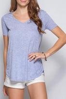 She + Sky Scoop Hem V Neck Tee