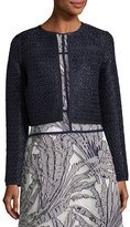 Lafayette 148 New York Kadian Loop-Stitch Cropped Jacket, Dark Blue