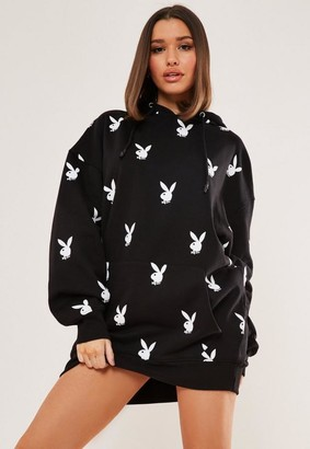 Missguided Playboy X Black Repeat Print Oversized Hoodie Dress