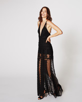 Nicole Miller Lace Trims Plunge Gown