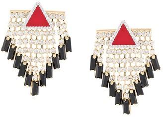 Triangle Crystal Tassel Earrings