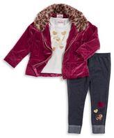 Little Lass Little Girl's Three-Piece Faux-Fur Trimmed Velvet Jacket, Graphic Tee and Denim Leggings Set