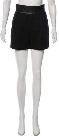 Leather-Accented Mini Shorts