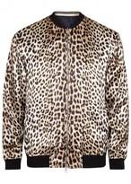 3.1 Phillip Lim Leopard-print Reversible Satin Bomber Jacket