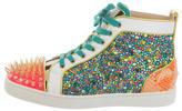 Christian Louboutin Strass & Ponyhair Louis Flat Sneakers