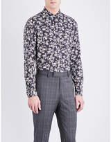 The Kooples Floral-pattern Slim-fit Cotton-twill Shirt