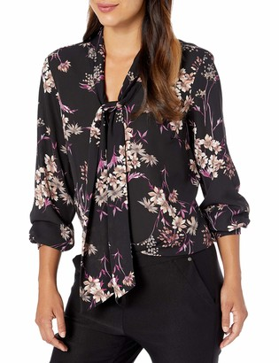 Nine West Women's Long Sleeve Printed Floral TIE Neck Blouse
